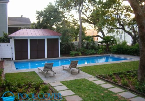 Awendaw SC Winter Pool Cover with Travertine Deck Coping