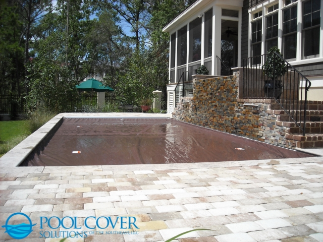 Edisto, SC Safety Pool Cover with Waterfall and Water Features