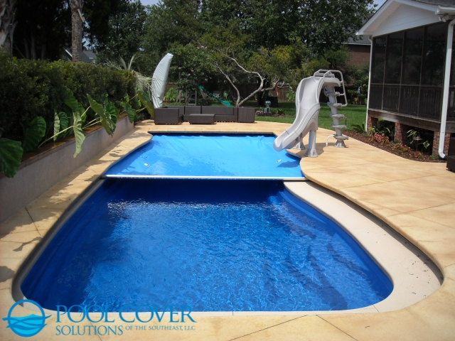 Isle of Palms SC Safety Pool Cover on Free Form Pool with Water Slide