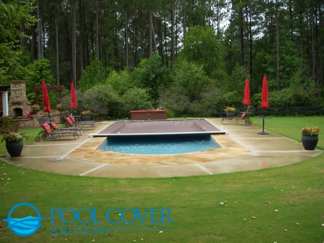 Mt Pleasant SC Automatic Pool Cover System with Stone and Concrete Decking