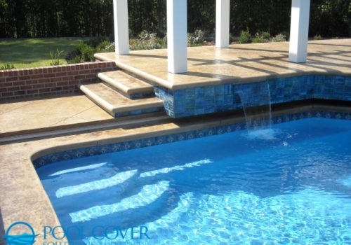 Mt. Pleasant SC Safety Cover System Pool with raised wall and water features