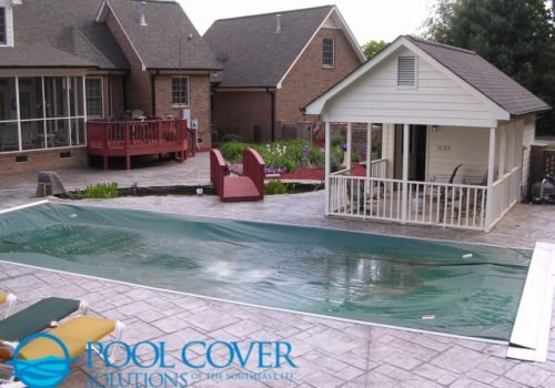 Myrtle Beach SC Safety Winter Cover on Free Form Fiberglass Pool