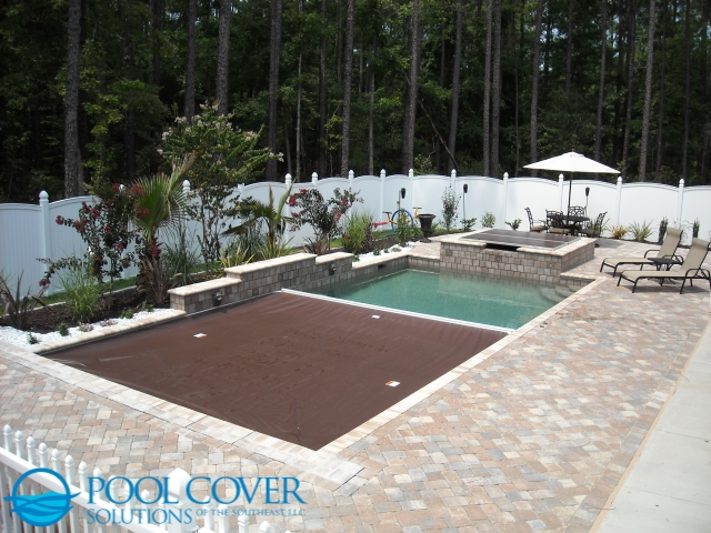 Murrells Inlet SC Automatic Pool Cover with sun deck and water features