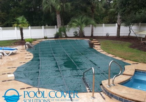 Myrtle Beach SC Loop Loc Mesh Winter Pool Cover with raised wall and hand rails (2)