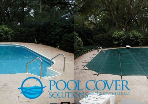 Nexton SC Loop Loc winter mesh pool cover with hand rails